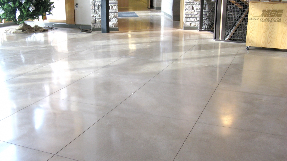 polished concrete with grout lines