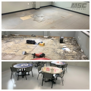 Before and After photo of epoxy flooring installed at industrial facility breakroom