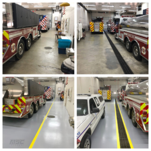 Before and After of Line Striping at Fire Department