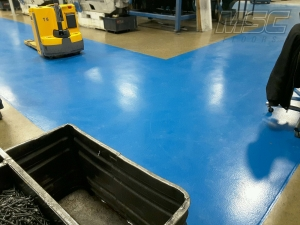 Blue aisleway coating in Sterling Heights, Michigan Industrial building