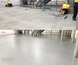 Urethane Cement before and After in Food Facility - Battle Creek, MI