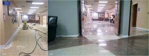 concrete polish brown grout lines-before-after