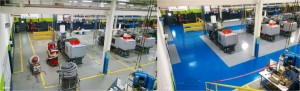 Before and After: Blue aisleway coating in Chesterfield, Michigan Industrial building