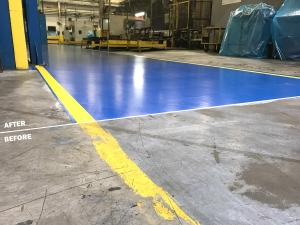 Before and After: Blue aisleway coating in Southfield, Michigan Industrial building