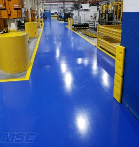 Blue aisleway coating in Southfield, Michigan Industrial building