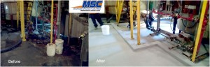 Cementitious flooring and containment areas