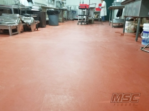 urethane mortar flooring at food production plant