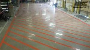 Polished Concrete with orange OSHA Line Striping